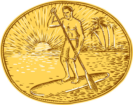 drawing board: Etching engraving handmade style illustration of a man with paddle stand up paddling boarding surfing set on inside oval with sun tropical beach palm coconut trees sunburst in the background Illustration