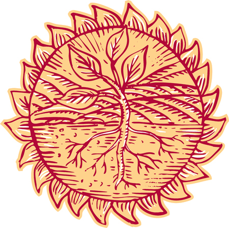 woodblock: Etching engraving handmade style illustration of a plant with leaves showing roots with field mountain in the background set inside circle sun design.