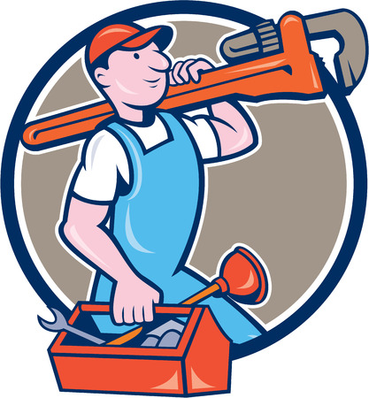 handyman cartoon: Illustration of a plumber in overalls and hat holding monkey wrench on shoulder and carrying toolbox viewed from the side set inside circle on isolated background done in cartoon style.