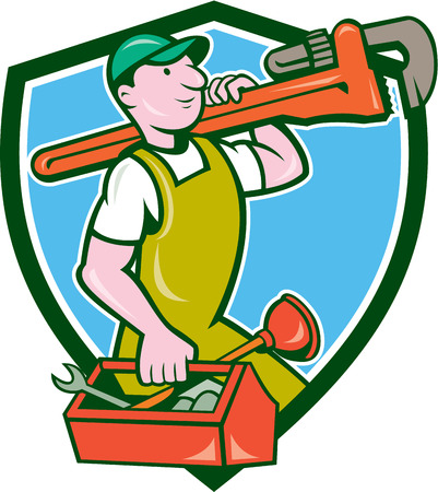 monkey wrench: Illustration of a plumber in overalls and hat holding monkey wrench on shoulder and carrying toolbox viewed from the side set inside shield crest on isolated background done in cartoon style.