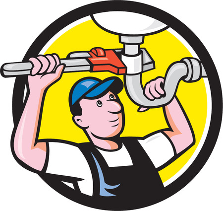 pipe wrench: Illustration of a plumber pipe worker repairing pipe sink with wrench set inside circle on isolated background done in cartoon style.