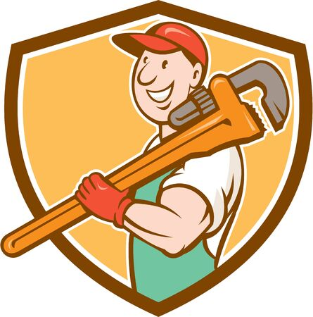 monkey wrench: Illustration of a plumber in overalls and hat smiling holding monkey wrench on shoulder set inside shield crest shape on isolated background done in cartoon style. Illustration