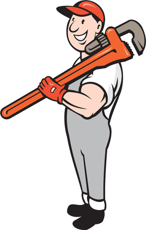 Illustration of a plumber in overalls and hat smiling standing holding monkey wrench on shoulder set on isolated white background done in cartoon style.