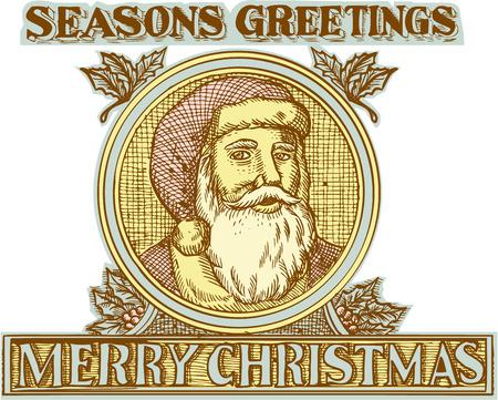 seasons greetings: Acquaforte incisione stile illustrazione a mano di Babbo Natale santo Nicola babbo natale fronte anteriore trova all'interno cerchio con agrifoglio e le parole Saluti Stagioni e Buon Natale.