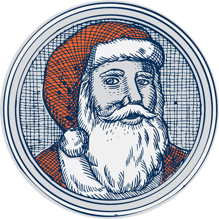 saint nicholas: Etching engraving handmade style illustration of santa claus saint nicholas father christmas facing front vintage style set inside circle. Illustration