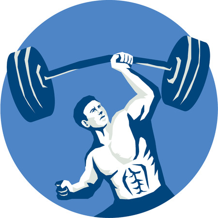 hand lifting weight: Illustration of a strongman weightlifter muscular guy lifting barbell weight with one hand viewed from front set inside circle done in stencil style.