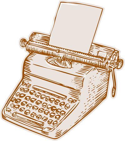 m�quina de escribir vieja: Ilustraci�n de estilo artesanal de grabado Grabado de una vieja m�quina de escribir estilo vintage con papel colocado en el fondo blanco aislado.
