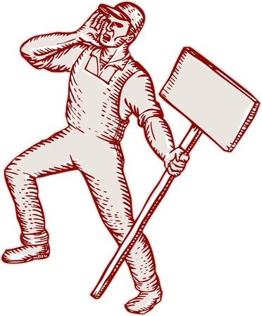 protester: Etching engraving handmade style illustration of a protester activist unionist union worker shouting holding up a placard sign on isolated white background. Illustration