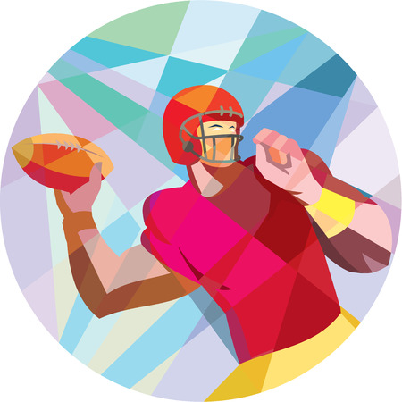 Low polygon style illustration of an american football gridiron quarterback player holding ball throwing facing side set inside circle.