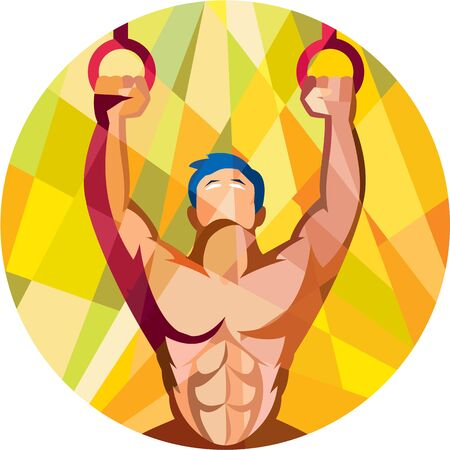 kip: Low polygon style illustration of a crossfit athlete body training weight exercise hanging on gymnastic ring dip kipping muscle up facing front inside circle done in retro style on isolated background Illustration