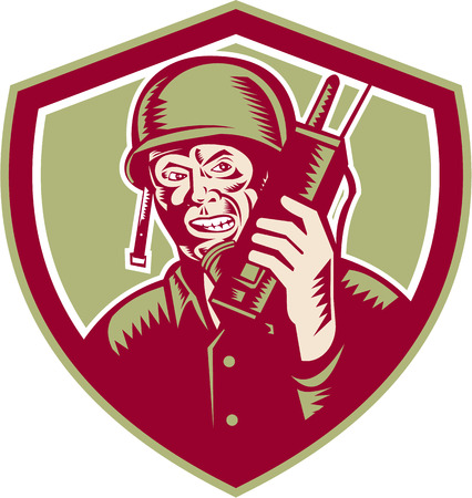 world war two: Illustration of a World War two American soldier serviceman talking on field radio walkie-talkie viewed from front set inside crest shield on isolated background done in retro woodcut style. Illustration