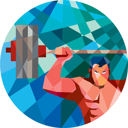 grabbing: Low polygon style illustration of a weightlifter snatching grabbing lifting barbell with facing front set inside circle shape.