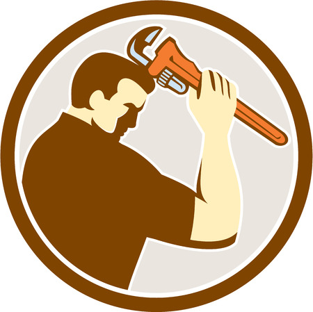 monkey wrench: Illustration of a plumber holding monkey wrench viewed from side set inside circle on isolated background done in retro style.