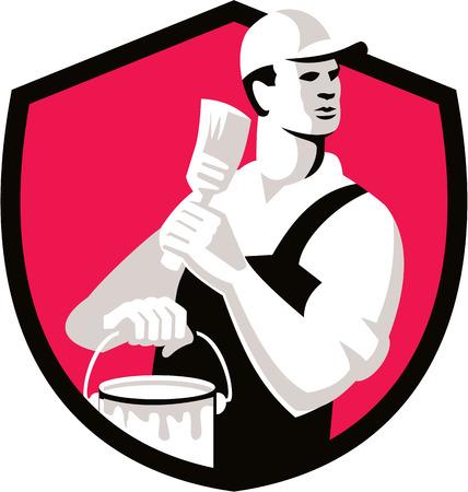 pintor: Ilustraci�n de un pintor de brocha gorda con el sombrero que sostiene la brocha y la lata de pintura mira a la cara conjunto dentro de escudo protector en el fondo aislado hecho en estilo retro.