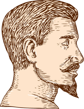 style goatee: Etching engraving handmade style illustration of a man viewed from the side with goatee set on isolated white background.