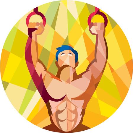 gimnasia: Ilustraci�n Low estilo poligonal de un ejercicio de entrenamiento de peso corporal del atleta crossfit colgando en el anillo gimn�stico chapuz�n kipping muscular hasta frente a frente dentro del c�rculo hecho en estilo retro en el fondo aislado