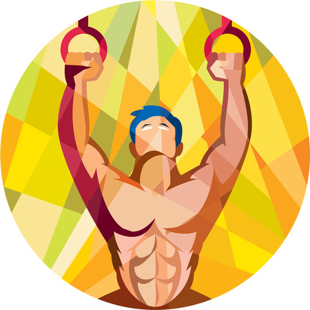 gymnastics sports: Low polygon style illustration of a crossfit athlete body training weight exercise hanging on gymnastic ring dip kipping muscle up facing front inside circle done in retro style on isolated background Illustration