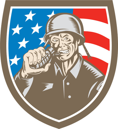 grenade: Illustration of a World War two American soldier serviceman biting grenade viewed from front set inside shield crest with usa american stars and stripes flag in the background done in retro woodcut style. Illustration