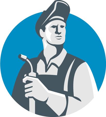 soldadura: Ilustración del trabajador del soldador que lleva el sombrero sosteniendo soplete mira a la cara fijó el círculo interior en el fondo aislado hecho en estilo retro. Vectores