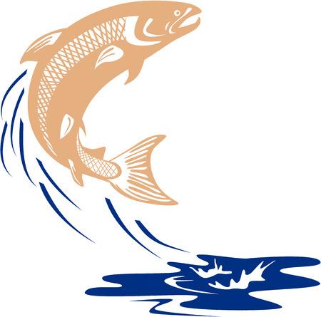 水分離の背景を白に設定でジャンプ サケ魚のイラストは、レトロなスタイルで行われる側から見た。