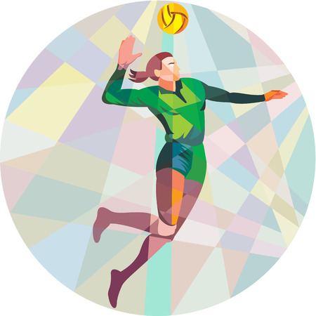 Low polygon style illustration of a volleyball player spiker jumping spiking hitting ball viewed from the side set inside circle on isolated background.