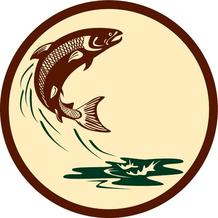 salmon leaping: Illustration of a salmon fish jumping in water set inside circle viewed from the side on isolated background done in retro style.