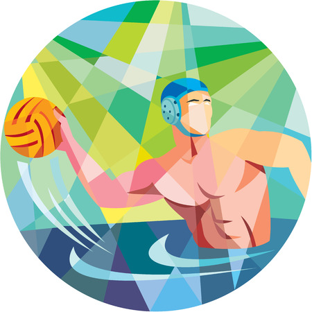 원 안에 설정 측면에서 본 공을 던지고 워터 폴로 선수의 낮은 다각형 스타일 그림.