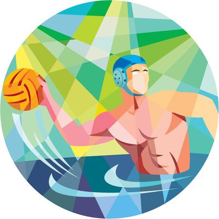 water polo: Ilustración Low estilo poligonal de un jugador de waterpolo lanzando pelota visto desde el lado fijó el círculo interior.
