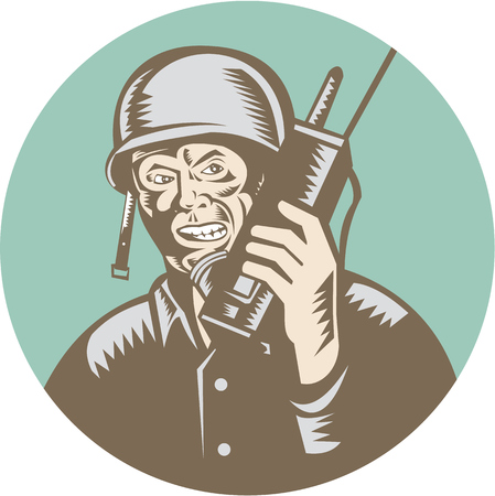 world war two: Illustration of a World War two American soldier serviceman talking on field radio walkie-talkie viewed from front set inside circle on isolated background done in retro woodcut style. Illustration