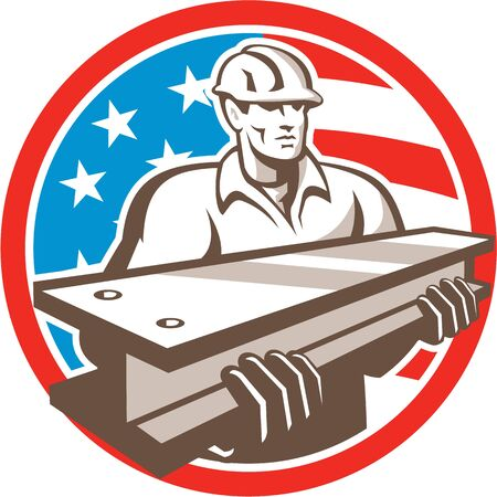 steel worker: Illustration of construction steel worker carrying i-beam girder viewed from front with usa american stars and stripes flag in the background set inside circle done in retro style.