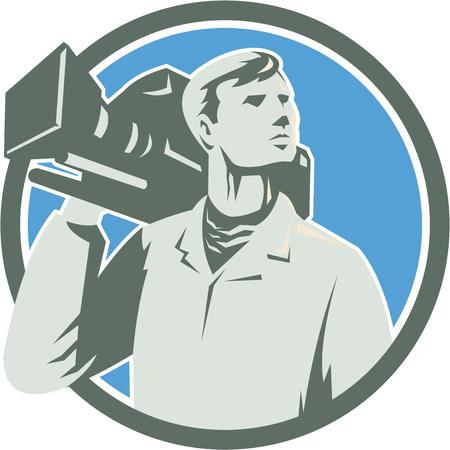 cameraman: Illustration of a cameraman holding a vintage movie video camera on shoulder looking to the side set inside circle on isolated background done in retro style. Illustration