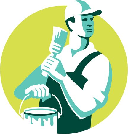 house painter: Illustration of a house painter with hat holding paintbrush and can of paint looking to the side set inside circle on isolated background done in retro style. Illustration
