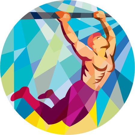 pull up: Basso illustrazione stile poligono di un corpo atleta esercizio peso crossfit tirare appeso sulla barra muscolo fino di fronte alla parte interna del cerchio.