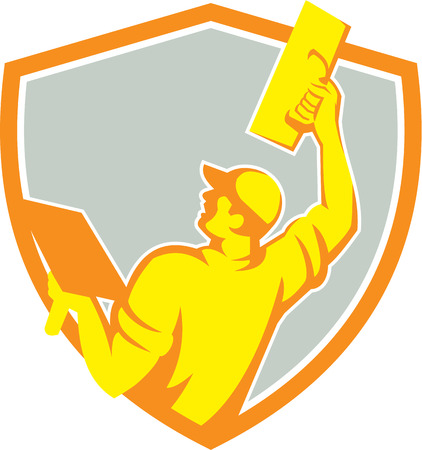 plasterer: Illustration of a plasterer masonry tradesman construction worker raising up trowel over head viewed from the back set inside shield crest done on isolated background done in retro style. Illustration