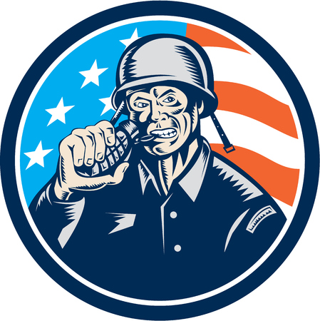 serviceman: Illustration of a World War two American soldier serviceman biting grenade viewed from front set inside circle with usa american stars and stripes flag in the background done in retro woodcut style.