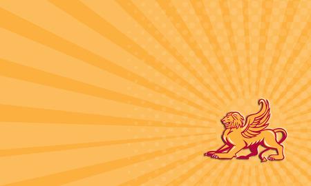 leon con alas: Tarjeta de negocios que muestra la ilustración de un gato grande león alado o el león de San Marcos, vista desde el lado listo para saltar en el fondo aislado.