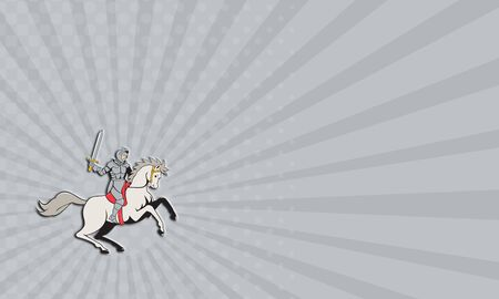 steed: Business card showing illustration of knight in full armor riding horse steed with sword facing side set on isolated white background done in cartoon style. Stock Photo