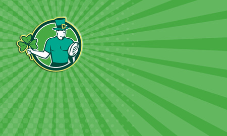 Business card showing illustration of an Irish rugby player wearing top hat running with the ball holding shamrock clover leaf set inside circle done in retro style. illustration