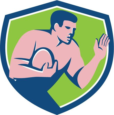 hand out: Illustration of a rugby player holding ball fending fend off with hand out set viewed from the side inside shield crest on isolated background done in retro style. Stock Photo