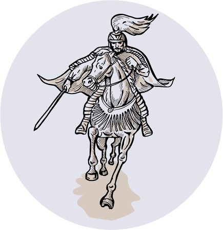 stance: Etching engraving handmade styleillustration of a Samurai warrior on horseback with katana sword in fighting stance on isolated background