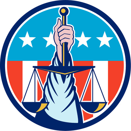justice scale: Illustration of a hand holding scales of justice viewed from front set inside circle with usa stars and stripes in the background done in retro style.
