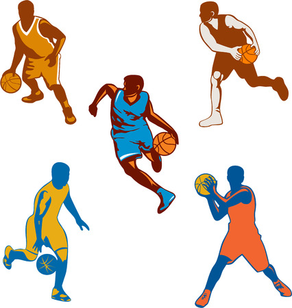 dribbling: Collection or set of illustrations of basketball player dribbling and passing the ball on isolated white background.