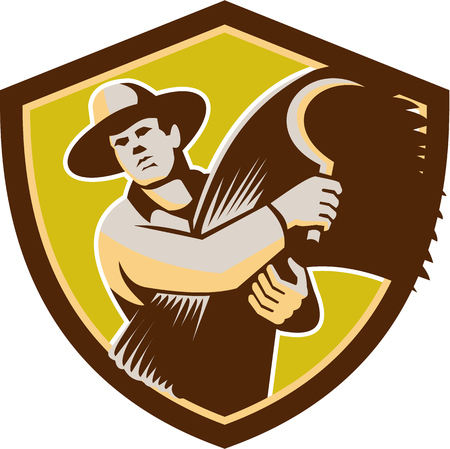 front facing: Illustration of a farmer farm worker holding scythe and wheat harvest facing front set inside shield crest on isolated background done in retro style.