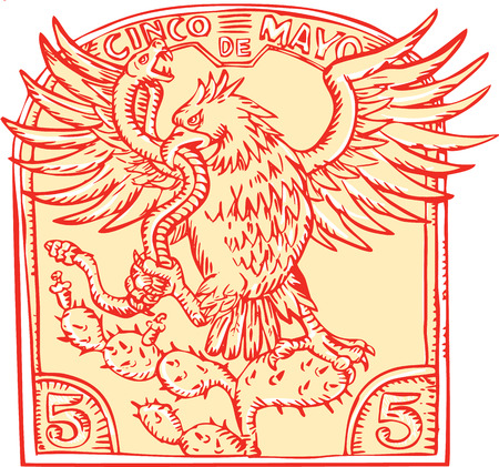 perching: Etching engraving handmade style illustration of a Mexican eagle devouring a rattle snake perching on prickly pear cactus set inside inverted crest with words Cinco de Mayo
