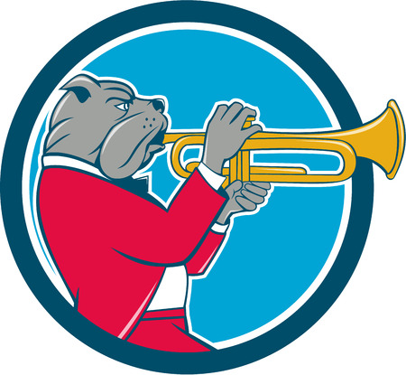trumpet isolated: Illustration of a bulldog in a suit blowing trumpet viewed from the side set inside circle on isolated background done in cartoon style. Illustration