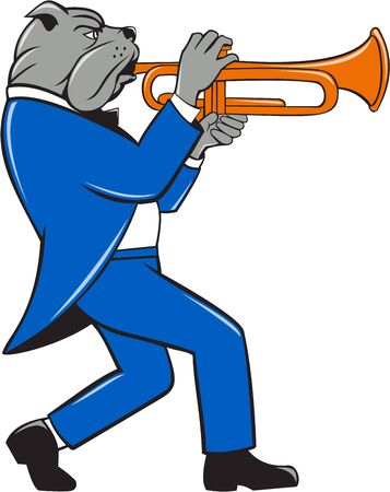 trumpeter: Illustration of a bulldog in a suit blowing trumpet marching walking viewed from the side set on isolated white background done in cartoon style.