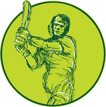 バット バッティング前部分離背景に円の中にセットからのクリケット プレーヤー打者のイラストを描きます。