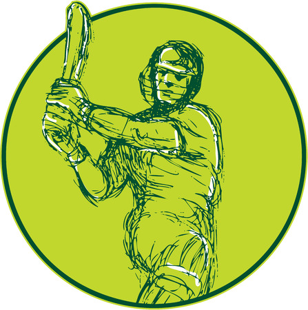 batsman: Drawing illustration of a cricket player batsman with bat batting viewed from front set inside circle on isolated background.