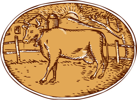 ranch house: Illustration of cow facing side with ranch house farm mountain sun trees in the background set inside oval shape done in retro woodcut style.