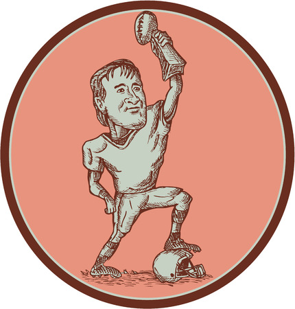 american football helmet set: Drawing illustration of an american football quarterback player raising up championship trophy stepping on helmet set inside circle on isolated background.